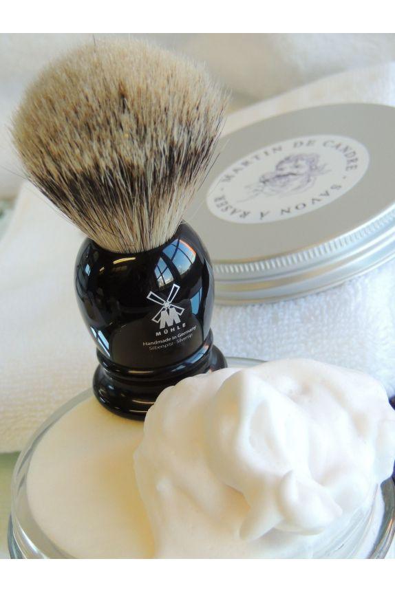 Shaving brush with grey hairs
