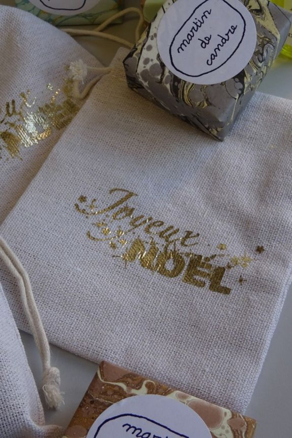 """Printed fabric bag """"MERRY CHRISTMAS"""" in red or gold"""